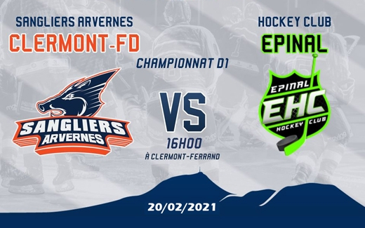 Photo hockey Division 1 - Division 1 : 4ème journée : Clermont-Ferrand vs Epinal  - Dure partie de hockey pour les Clermontois
