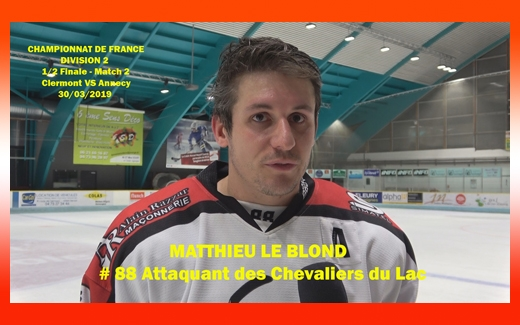 Photo hockey Interview de Matthieu Le Blond - Division 2 : Annecy (Les Chevaliers du Lac)