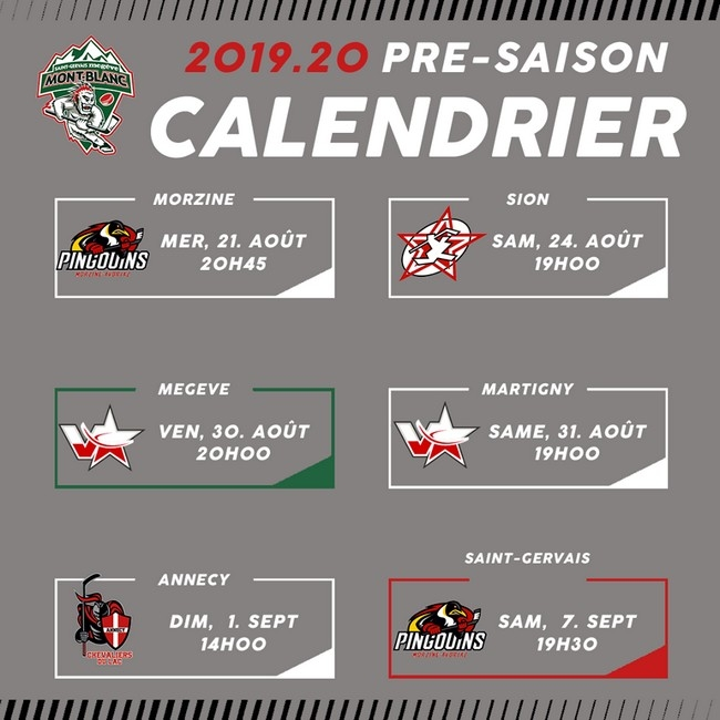 Photo hockey Mt Blanc : Programme des matchs amicaux  - Transferts 2019/2020